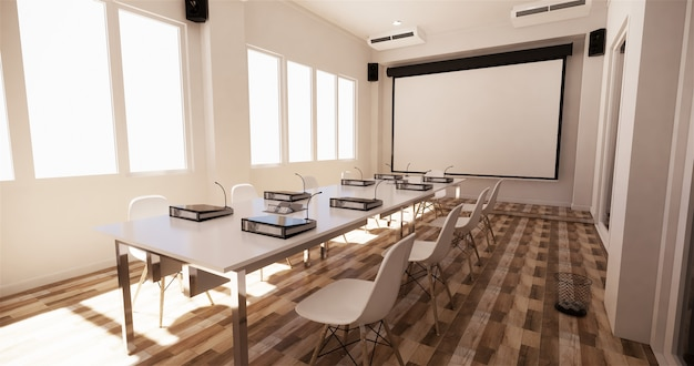 オフィスビジネス - 美しい会議室会議室と会議用テーブル、モダンなスタイル。 3dレンダリング Premium写真