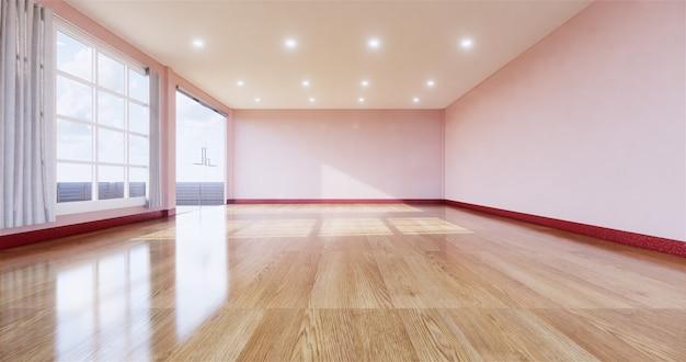 木製の床と空の部屋のインテリア。 3dレンダリング Premium写真