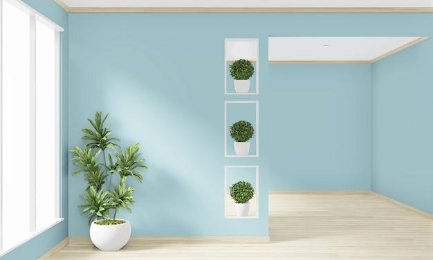 床の木製インテリアデザインの空の部屋のミントの壁をモックアップします。 3dレンダリング Premium写真
