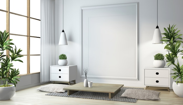 木製の床の部屋の白い壁にランプ、フレーム、黒い低いテーブルと日本のリビングルームのアイデア。 3dレンダリング Premium写真