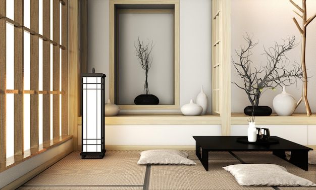 Номер в стиле дзен с отделкой в японском стиле на татами. 3d рендеринг Premium Фотографии
