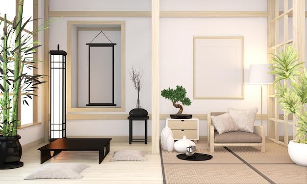 モダンな禅ミックス元禅スタイル木製ルームインテリア畳と木製の壁最小限の和風。 3dレンダリング Premium写真