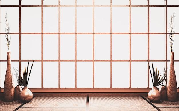 畳の床に植物花瓶木製装飾が施された部屋の古いスタイルの空のシーンウィンドウの背景。3dレンダリング Premium写真