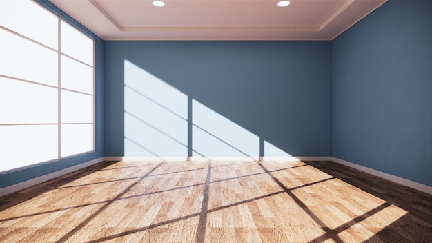 Интерьер пустая синяя комната мята на деревянный пол дизайн интерьера. 3d-рендеринг Premium Фотографии
