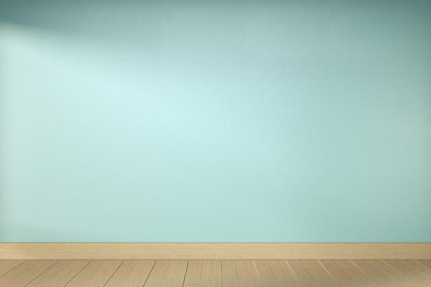 Пустая комната мяты на деревянном дизайне интерьера пола. 3d рендеринг Premium Фотографии