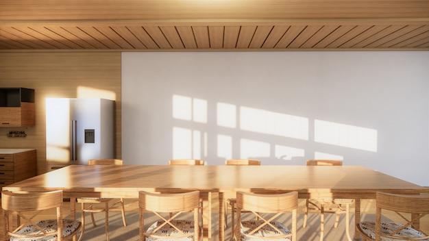 和室キッチンルーム。 3dレンダリング Premium写真