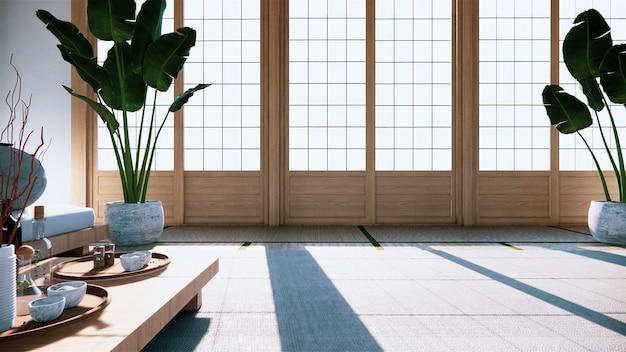 多機能ルームのアイデア、和室のインテリアデザイン。 3dレンダリング Premium写真