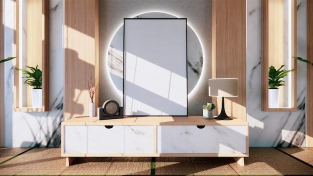 リビングの御影石の白い壁の装飾日本スタイルのデザインと棚の壁。 3dレンダリング Premium写真