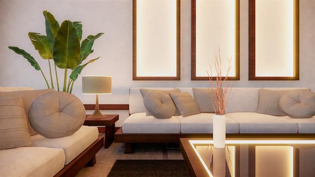 部屋にソファーの和風。 3dレンダリング Premium写真