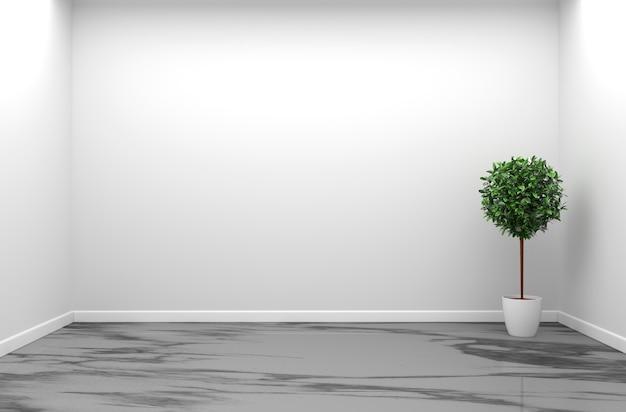 花崗岩の部屋のインテリア - 自然石の花崗岩床の空の部屋3dレンダリング Premium写真