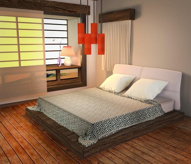 ベッドルームインテリア - 日本のモダンスタイル、木製の床と赤いランプ。 3dレンダリング Premium写真