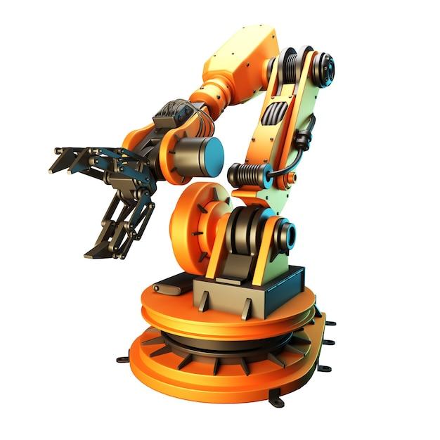 白い背景にロボットアーム。 3dレンダリング Premium写真