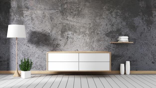 Каменная стена с корпусом макет интерьера украшение пустая комната. 3d рендеринг Premium Фотографии
