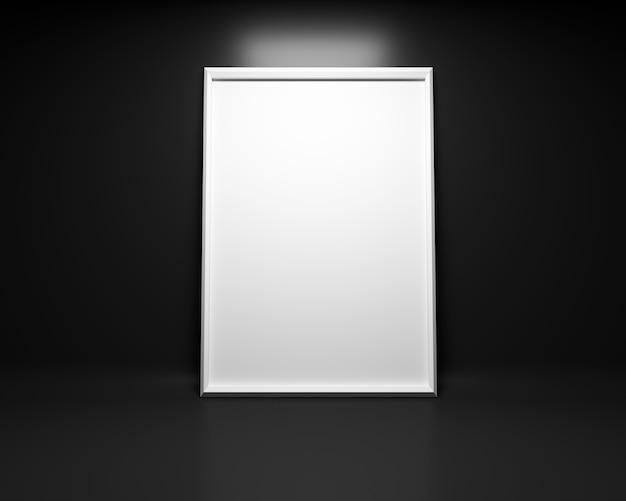 黒い背景に白い絵のフレームモックアップ。 3dレンダリング Premium写真