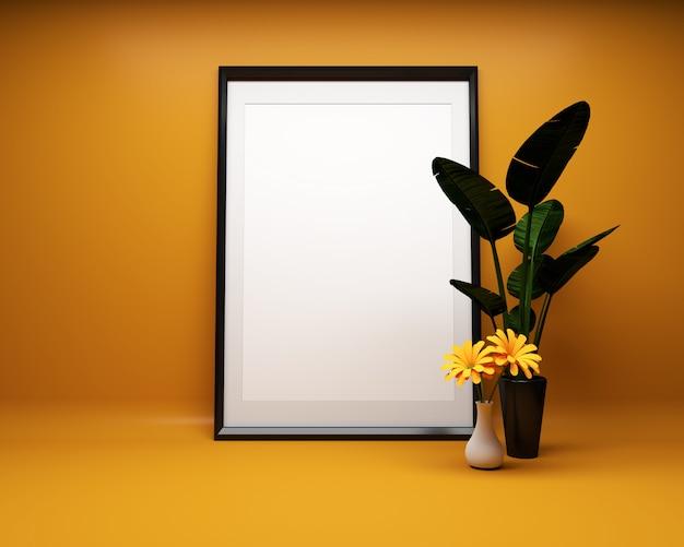 植物とオレンジ色の背景に白い絵のフレームモックアップ。 3dレンダリング Premium写真