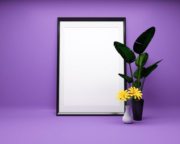 工場で紫色の背景に白い絵のフレームモックアップ。 3dレンダリング Premium写真