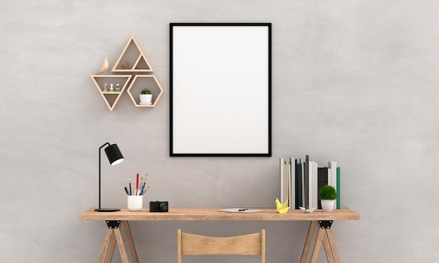 壁のモックアップ用の空のフォトフレーム、3dレンダリング Premium写真