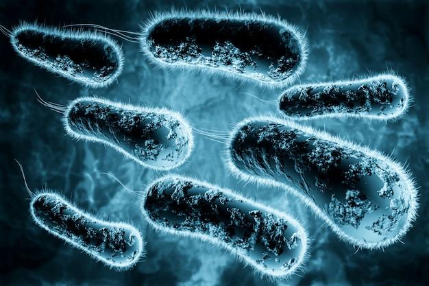 Цифровая 3d иллюстрация бактерий Premium Фотографии