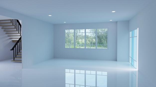 空の室内の3dレンダリング Premium写真