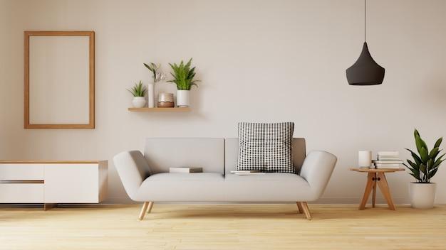 Современный интерьер гостиной с диваном и зелеными растениями, лампа, стол на проживание. 3d визуализация. Premium Фотографии