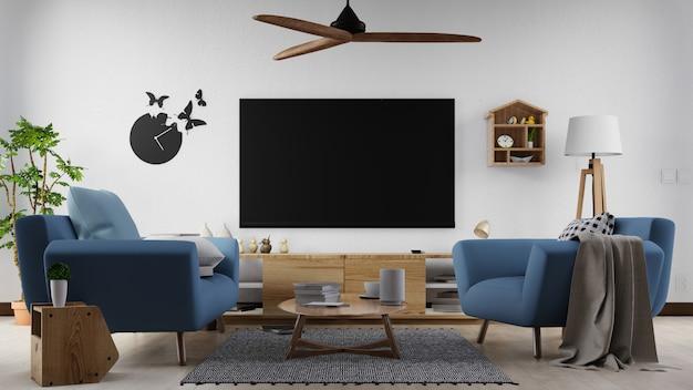 Интерьер плакат макет гостиной с красочными белым диваном. 3d-рендеринг. Premium Фотографии