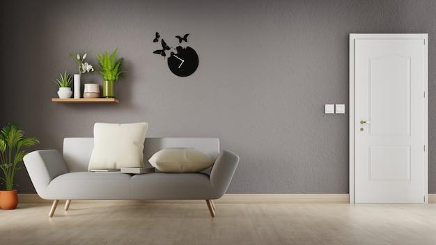 白いソファ付きのインテリアリビングルーム。 3dレンダリング。 Premium写真