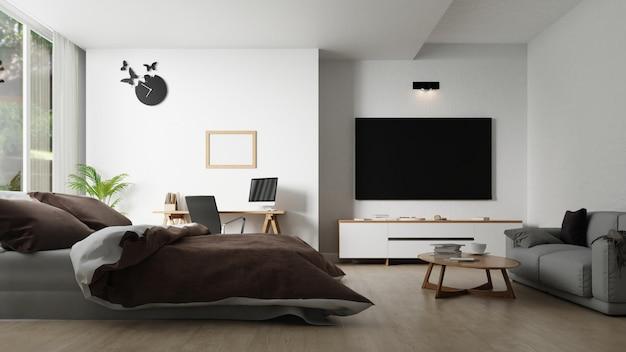 テレビキャビネット付きのインテリアベッドルーム。 3dレンダリング。 Premium写真