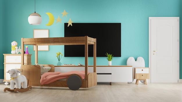 Интерьер гостиной с детской кроватью. 3d-рендеринг. Premium Фотографии