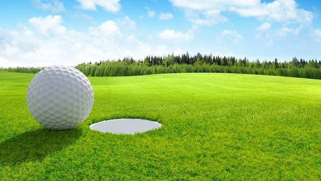 3d визуализации крупный план мяч для гольфа на зеленый в поле для гольфа. спортивный фон. Premium Фотографии