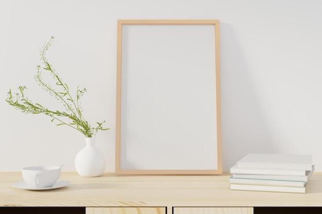 Макет плаката с рамкой, стоя на столе в гостиной. 3d-рендеринг. - иллюстрация Premium Фотографии