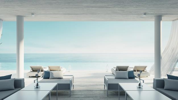 Гостиная на пляже - океан вилла с видом на море и море для отдыха и лета / 3d визуализации интерьера Premium Фотографии