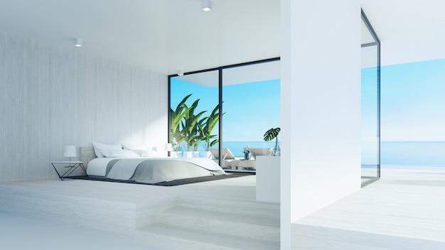 ビーチベッドルーム/ 3dレンダリング Premium写真