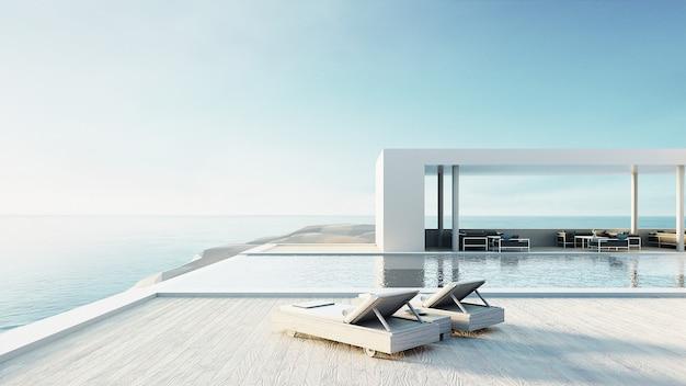 Пляжный салон открытый бассейн и роскошный интерьер / 3d рендеринг Premium Фотографии