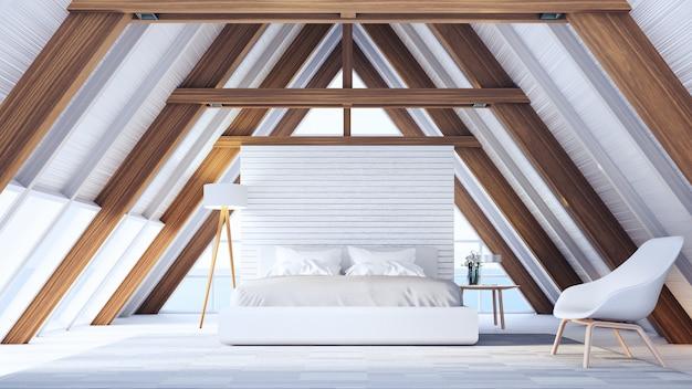 Спальня на пляже в деревянном каркасном доме - легко и расслабиться / 3d рендеринг интерьера Premium Фотографии