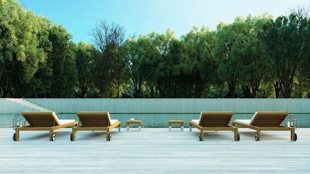 Форрест бассейн вилла курорт / 3d рендеринг на открытом воздухе Premium Фотографии