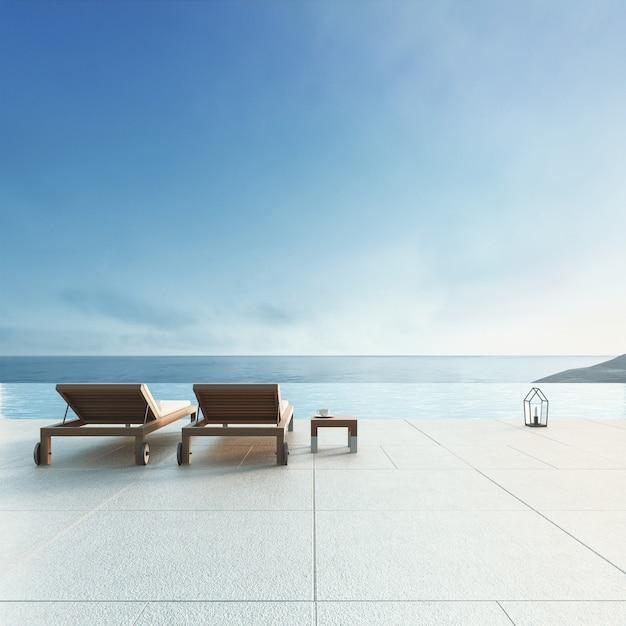 Пляжный салон - вилла на берегу океана с бассейном и видом на море / 3d визуализация Premium Фотографии
