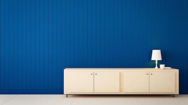 Классический синий цвет стен для дома и интерьера / 3d рендеринг Premium Фотографии