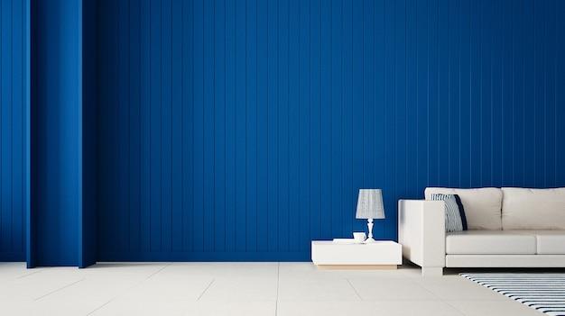 Стильная гостиная с синей стеной / 3d-рендеринг Premium Фотографии
