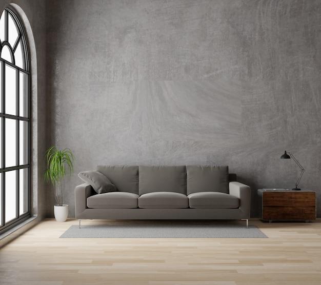 3dレンダリングロフトスタイルのリビングルーム、茶色のソファ生コンクリート、木製の床、大きな窓、木 Premium写真