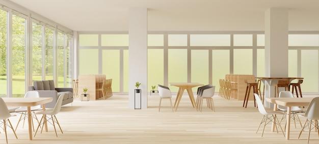3dレンダリング、共同作業スペース、空の場所、白い壁、木製の床 Premium写真