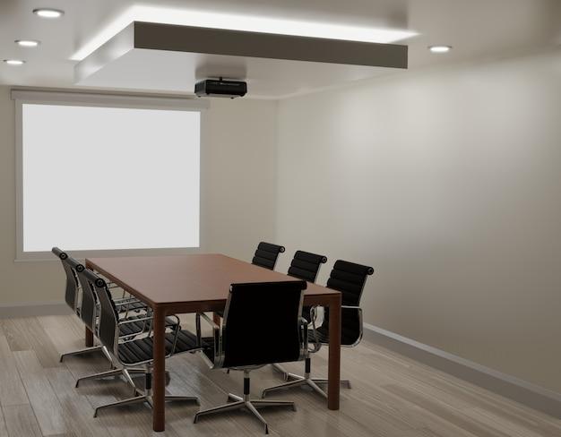 Конференц-зал с белой стеной, деревянный пол, проектор машина копирование пространство 3d-рендеринга Premium Фотографии