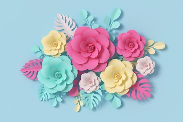 Цветочный стиль бумаги, красочные розы, бумажные ремесла цветочный, 3d-рендеринг, с обтравочный контур. Premium Фотографии