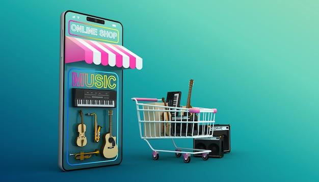 Интернет-магазин, мобильное приложение, 3d-рендеринг Premium Фотографии