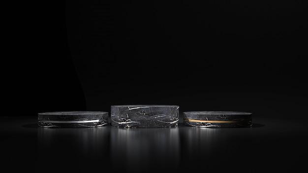 製品の幾何学的形状の表彰台と抽象的な黒の背景。 3dレンダリング Premium写真
