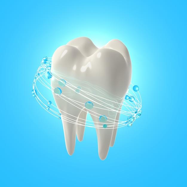 3d визуализация реалистичные зубы. чистые белые зубы с полосканием рта Premium Фотографии