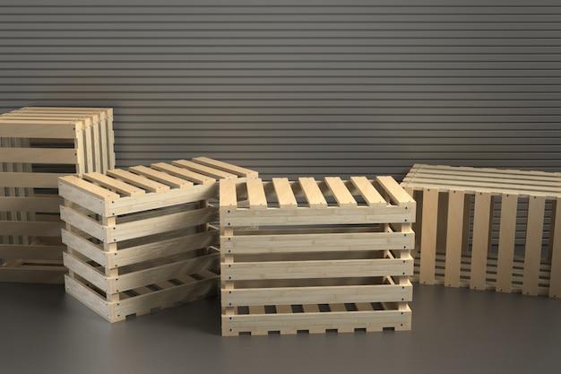 3d визуализация деревянный фон Premium Фотографии