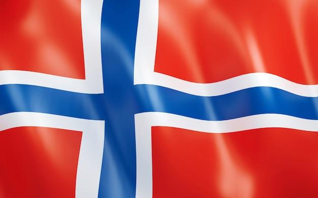 ノルウェーの3d旗。 Premium写真