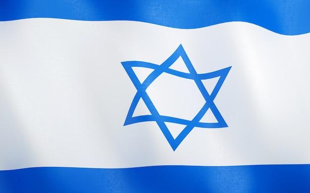 イスラエルの3d旗。 Premium写真