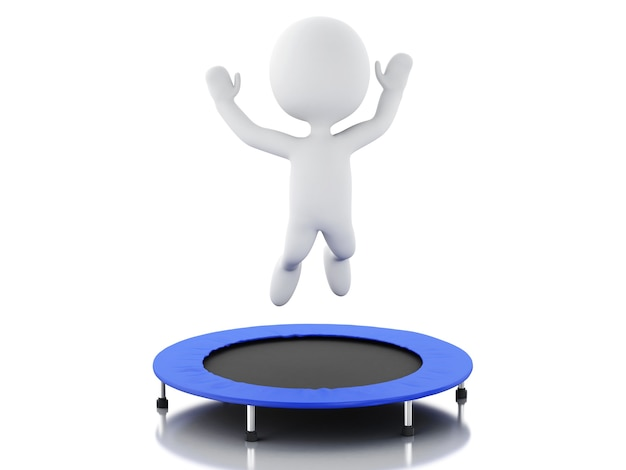 3d белые люди, счастливые прыжки для успеха в батуте. Premium Фотографии