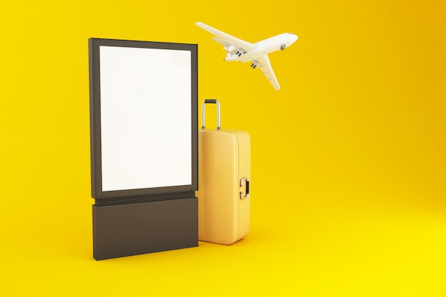 3d пустой вывеска, чемодан путешествия и самолет Premium Фотографии